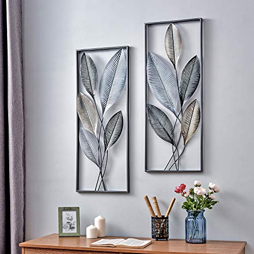 FirsTime & Co. Metallic Leaves Decor Wall Plaque Set, 35.5'H x 14'W, Gold, Antique Silver, Black