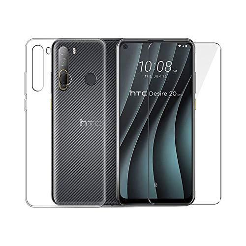 PZEMIN Custodia per HTC Desire 20 PRO Cover Caso Silicone Trasparente TPU Bumper Leggero Morbido Shell Case + Film di Vetro Temperato per HTC Desire 20 PRO Pellicola Protettiva (6.5