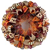 Fall Wreaths | Maroon Orange Fall Thanksgiving Burlap Deco Mesh Door Wreath; Yellow White Red : F2