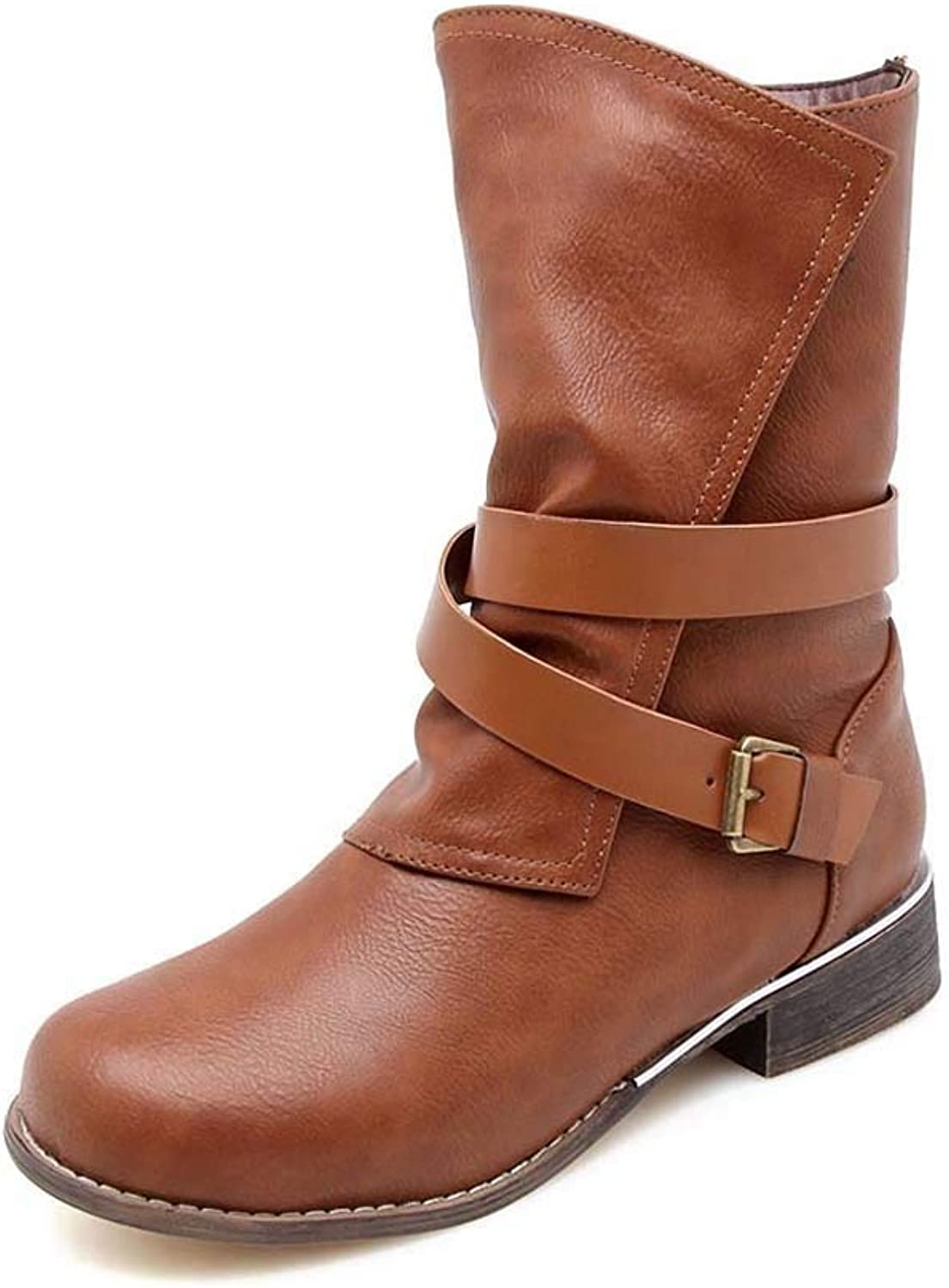Women's Boots, Versatile Casual Low Heel Square with Large Size 34-43 Belt Buckle in The Tube Women's Boots