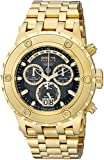 Invicta Men's 14468 Subaqua Reserve Chronograph Black Carbon Fiber Dial 18k Gold Ion-Plated Stainless Steel Watch