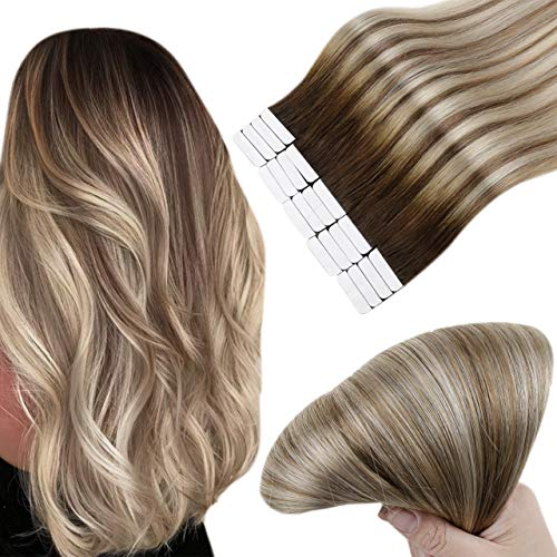 Easyouth Ruban Adhesive Cheveux Naturel Couleur Darker Brown Purple to Light Brown mix with Medium Blonde Remy Seamless Skin Weft Humain Cheveux Extentions 12pouce 20Pcs 30g