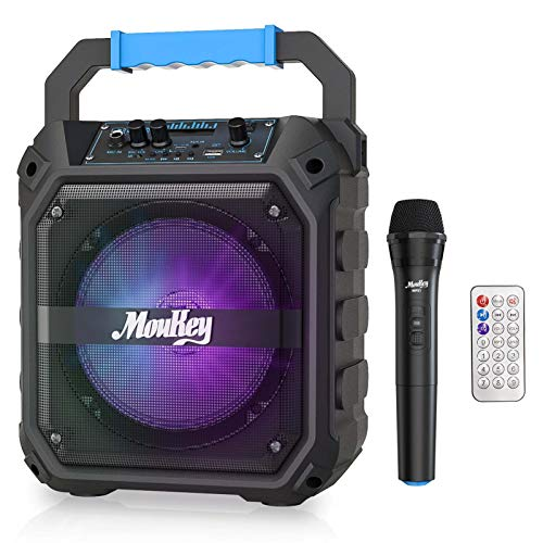 Moukey MPS1 tragbare Karaoke, Karaoke Anlage, Mini Sound System, Karaoke System, PA-System mit FM-Radio, PA Sound Anlage, Fernbedienung, unterstützt TF-Karte/USB, perfekt für Party 6,5 Zoll