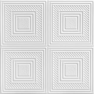 A la Maison Ceilings 867 Nested Squares - Styrofoam Ceiling Tile (Package of 8 Tiles), Plain White