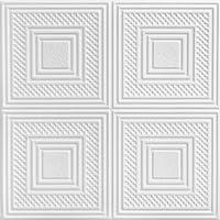 A La Maison Ceilings R11 ネストスクエアフォーム接着天井タイル (256平方フィート/ケース) 96個パック プレーンホワイト