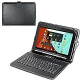 Navitech Schwarz bycast Leder Stand mit deutschem QWERTZ Keyboard mit Micro USB für das Fire HD 8 Tablet, 8'