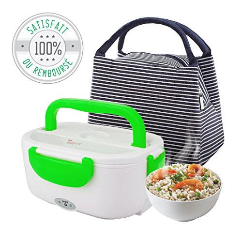 O³ Gamelle Chauffante pour déjeuner/Lunch Box Bento électrique pour chauffer et réchauffer vos plats/Livrée avec un joli sac pour un transport pratique et discret/Notice en Francais !