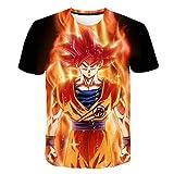 Manga Corta para Hombre Costura en Contraste Escote CamisetaImpresión 3D de Dragon Ball Anime-TX1537_XXS