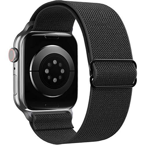 CAVN Correa compatible con Apple Watch Series 6/5/4/3/2/1 SE 38 mm 40 mm, ajustable elástico trenzado transpirable suave correa de repuesto compatible con iWatch Series 6/5/4/3/2/1 SE, color negro