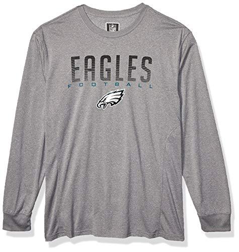 Ultra Game NFL Philadelphia Eagles Mens Active Long Sleeve Tee Shirt, Heather Gray19, Large