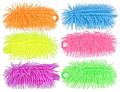 Curious Minds Busy Bags Set of - 6' Puffer Worms - Sensory Fidget and Soft Hairy Air-Filled Stress Balls - OT Autism SPD (6 Puffer Worms (1 of Each Color))