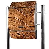 Banjado Briefkasten Edelstahl mit Ständer | Postkasten freistehend 126x53x17cm | Standbriefkasten mit Zeitungsfach und Namensschild Motiv Trockenes Holz