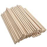 Axe Sickle 6 x 1/4 Inch Wood Dowel Rods Unfinished Hardwood Sticks for Crafts and DIY, 50 Pcs