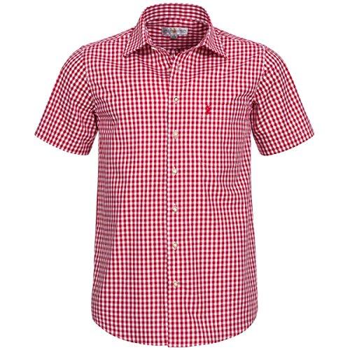 Kurzarm Trachtenhemd in Rot von Almsach, Größe:L;Farbe:Rot