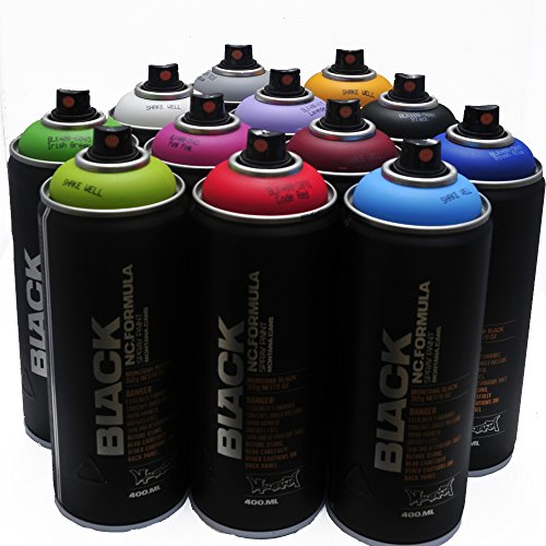 Montana Black 400 ml Farben Satz von 12 Graffiti-Straßen-Kunst-Wand Sprühfarbe