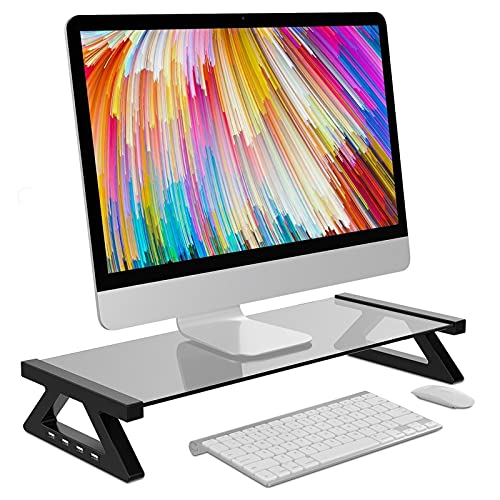 LuiYninhuoJin Mufti-Function - Soporte USB 2.0 para monitor (cristal templado)
