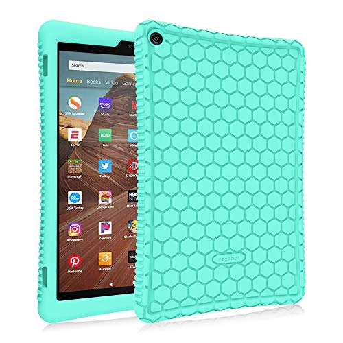 Fintie Silicone Case for Amazon Fire HD 10 (Compatible with 7th and 9th Generations, 2017 and 2019 Releases) - [Honey Comb Series] [Kids Friendly] Light Weight Shock Proof Back Cover, Mint Green