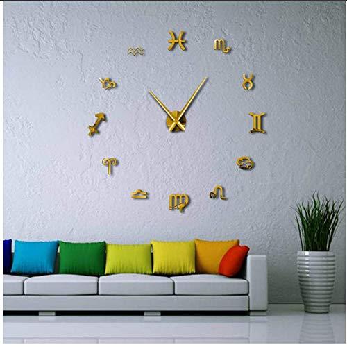 Djkaa tekensymbolen, zelfklevend, reuze-wandklok, spiegel, 3D, grote getallen, modern design, doe-het-zelfklevend, zonder muren (37 inch)