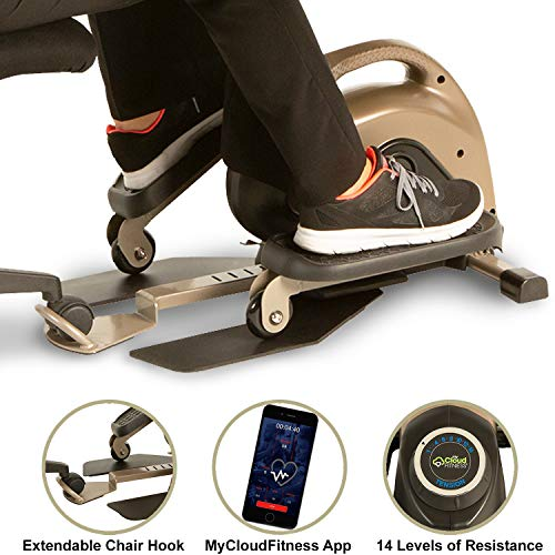 Big Save! EXERPEUTIC 900E EXERWORK No Impact Bluetooth Smart Cloud Fitness Under Desk Elliptical wit...