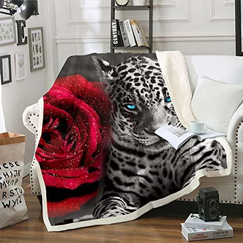 Juego de edredón con diseño de leopardo, con diseño de rosa, diseño de guepardo, manta de franela para niños, niñas y mujeres, 3D, manta de franela de animal de sabana...