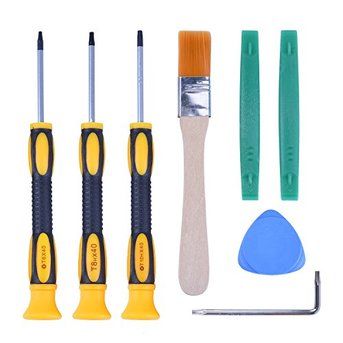 T6 T8H T9H T10H Screwdriver Tool Kit with Prying Tool and Cleaning Brush Repair for Microsoft Xbox One/Xbox 360 and Sony Playstation PS3 PS4 Controller