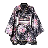 HongH Kimono Bathrobe Costume Japanese Traditional Yukata Cosplay Women's Sexy Sakura Pattern (Black), Large