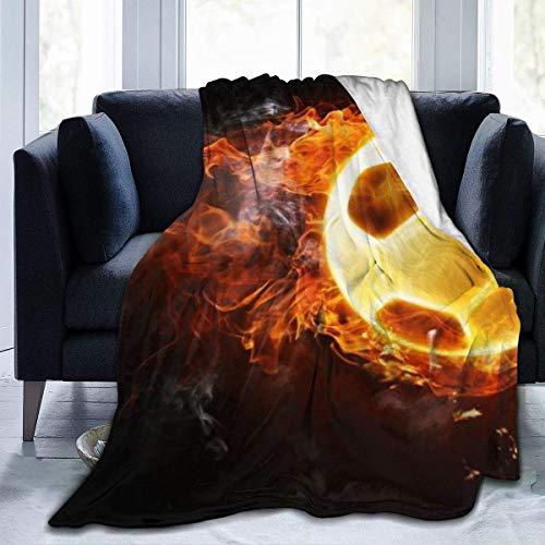 Manta de Microfibra Ultra Suave, Mantas acogedoras con Bordes cosidos de fútbol Caliente y Lucha contra Incendios, Alfombra térmica portátil de Felpa para sofá Cama