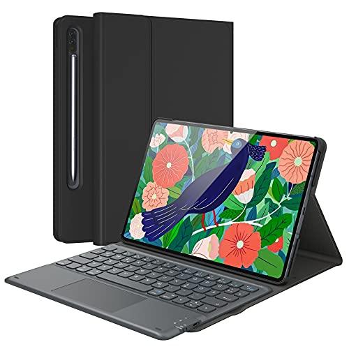 Earto Tastatur hülle mit Touchpad für Samsung Galaxy Tab S7 11 Zoll 2020, Ultradünne Hülle mit S-Pen-Halter, Magnetische QWERTZ Tastatur mit Smart Touchpad für Galaxy Tab S7 SM-T870/T875/T878, Schwarz