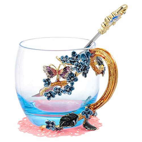 BESPORTBLE 1 Set Glas Kaffee Becher Chic Emaille Blume Decor Trinken Tassen mit Löffel