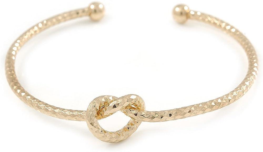 Avalaya Open Heart Textured Slim Gold Plated Cuff Bracelet - Adjustable