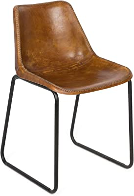 Boho Traders Vintage Aged Dining Chair Vintage Aged Leather Dining Chair, Tan