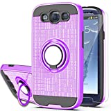 S3 Case,Galaxy S3 Phone Case with HD Screen Protector, YmhxcY 360 Degree Rotating Ring & Bracket Dual Layer Shock Bumper Cover for Samsung Galaxy S3 S III I9300 GS3 All Carriers-ZH Purple