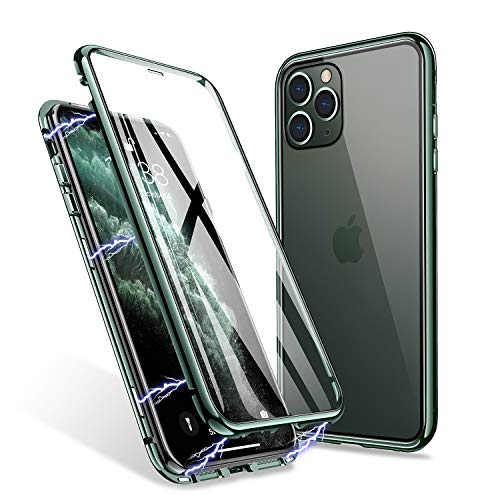 ZHIKE iPhone 11 Pro Max Hülle, Magnetic Adsorption Case Vorder- und Rückseite aus gehärtetem Glas Vollbild-Abdeckung Einteiliges Design Flip Cover [Support Wireless Charging] (Mitternachtsgrün)
