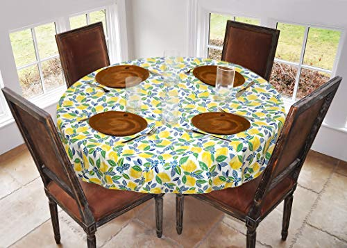 Covers For The Home Deluxe Stitched Edged Flannel Backed Vinyl Drop Tablecloth - Contemporary Lemon Pattern - 70' Round