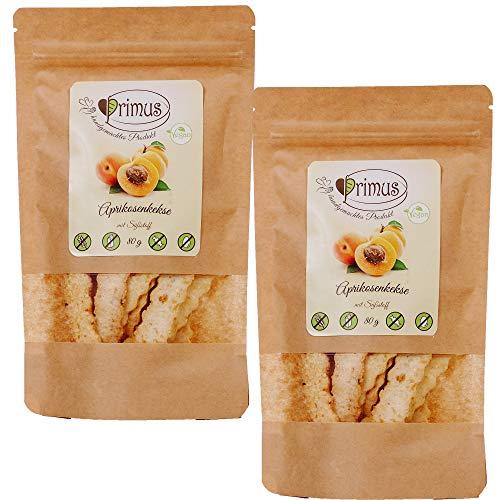 Primus Handgemachte Kekse mit Aprikose, 2x 80 g Doppelpack, knusprig-leckere Kekse ohne Zusatzstoffe, zuckerfrei, glutenfrei und vegan