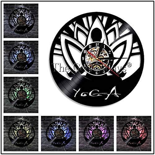 YAZCC 1 Pieza Lotus Mandala Yoga Silueta luz de Pared Vinilo...