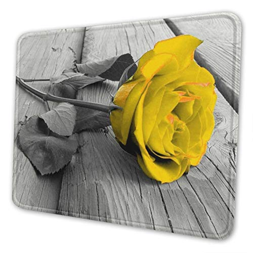 Gearsly Yellow Grey Rose Flower Gaming Mouse Pad Mat Mousepad Thick Non-Slip Rubber Rectangle Computers Laptop Mouse Pads for Home Office 8.3 X 10.3 in