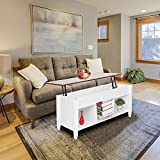 Lift Top Coffee Table for Office with Hidden Compartment and 3 Cube Open Storage Shelves