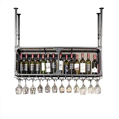 JN Wijnrek decoratie IJzeren zwarte dubbele opknoping telescopische arm glazen rode wijn/wijnglas creatieve multi-functie rooster hek hoge temperatuur verf anti-roest vermogen Wijnglas fles opslag