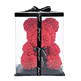 ZS-Juyi Rose Flower Bear -16 Inches Tall -Over 200+ Flowers on Every Rose Bear - Propose,Anniversary's, Birthdays, Bridal Showers,Valentine's Day,Mothers - Clear Gift Box Included (Red)