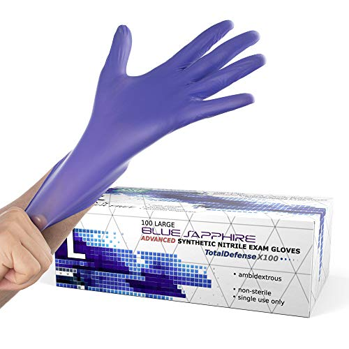 Powder Free Disposable Gloves Large - 100 Pack - Nitrile and Vinyl Blend Material - Extra Strong, 4 Mil Thick - Latex Free, Food Safe, Blue - Medical Exam Gloves, Cleaning Gloves