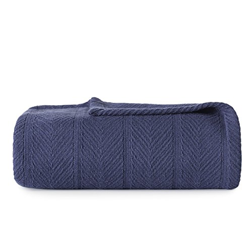 Eddie Bauer | Herringbone Collection | 100% Cotton Light-Weight and Breathable Blanket, Cozy and Soft Throw, Machine Washable, King, Navy