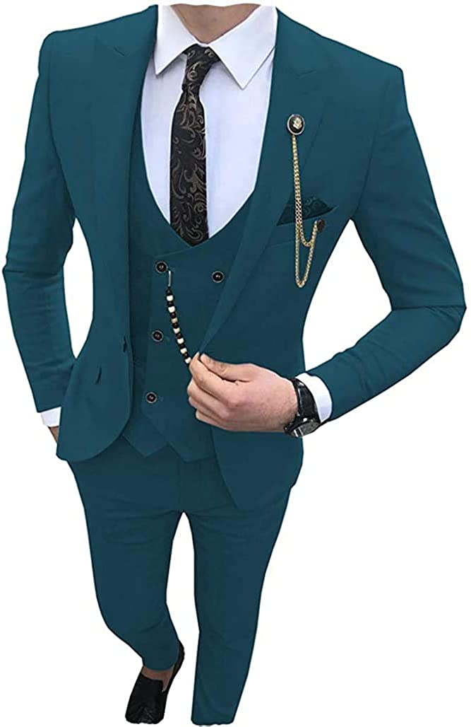 Aimicui Men's Suits 3 Piece Tuxedos Casual Tailor-Made Suit Shawl Lapel Prom Groomsmen (Jacket+Pants+Waistcoat)