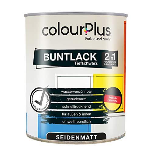 colourPlus® 2in1 Buntlack (750ml, RAL 9005 Tiefschwarz) seidenmatter Acryllack - Lack für Kinderspielzeug - Farbe für Holz - Holzfarbe Innen - Made in Germany