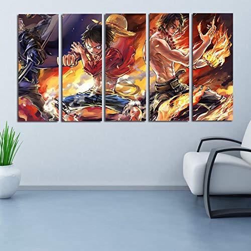 ZEMER One Piece Poster Leinwanddrucke Wandkunst Wohnkultur HD Bilder 5 Stücke Anime Charaktere Gemälde Wohnzimmer Kein Rahmen