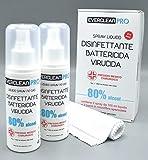 Spray disinfettante liquido per mani ed oggetti Everclean Pro 80% Alcool - Battericida Virucida -Presidio Medico Chirurgico- Pack ml100x2+3 Panni Microfibra Spazzolata -