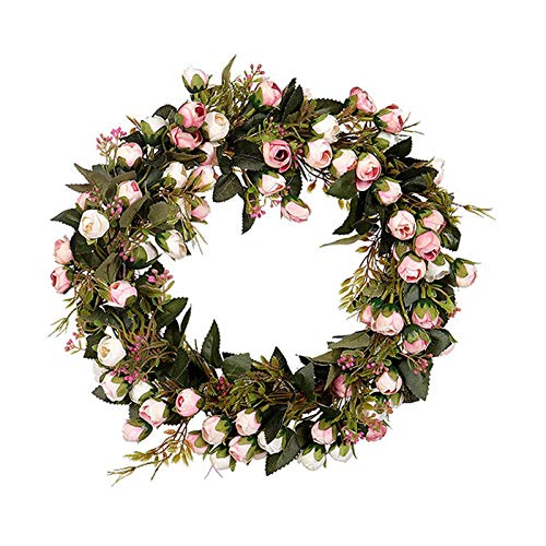 Mdjywl 30cm Mini Rose Floral Wreath Silk Fake Flower Garland for Home Front Door Wedding Wall Hanging Decoration Decorat (Color : Pink, Size : 30cm)