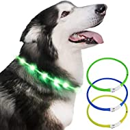 Dog Collar light for the dark, Silicone Collar Flashing Led Light for pets- USB Rechargeable - Makes...
