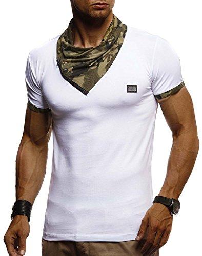 Leif Nelson Herren T-Shirt Tiefer Rundkragen Kurzarm-Shirt Slim Fit Männer T-Shirt lang Rundhals Ausschnitt Fashion Shirt für Herren