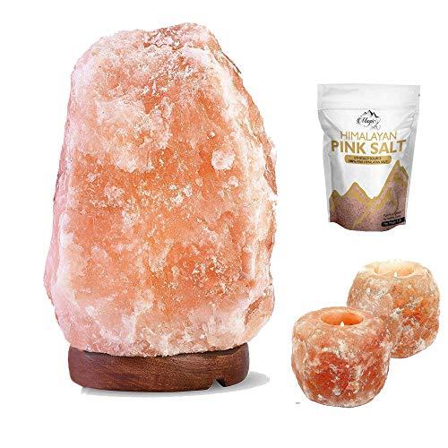 Lampe à sel en cristaux de sel gemme rose de l'Himalaya naturel, avec prise et ampoule certifiée CE avec 2 bougeoirs et sel de bain gratuit